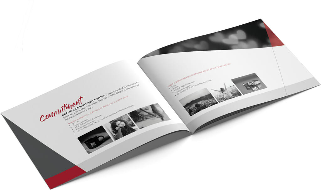 Brand Commitment Matrix pages of the Total Brandividuation Book Deliverable